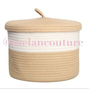 Woven Basket, Cotton Rope Basket with Lid Storage